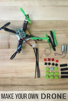 All of the parts and pieces to build your own drone! Build Your Own Drone, Make Your Own, How To Make, Electronic Kits, Diy Kits, Color Patterns, Tutorials, Creative, Diy Crafts