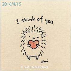 823 あなたを思っています I think of you. #illustration #hedgehog #イラスト #ハリネズミ #illustagram