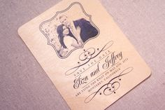 Real Wood Wedding Invitation - Elegant Photo Save the Date Wood Wedding Invitations, Black And White Wedding Invitations, Wedding Invitation Design, Invites, Enchanted Forest Theme, Real Wood, Wedding Themes, Save The Date, Wedding Inspiration