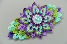 Handmade hair clip created of rep ribbons by HairAccessoriesStore