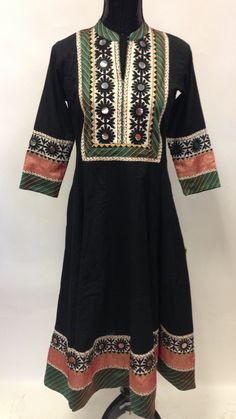 Anarkali Style Long Cotton Kurta-Black