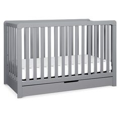 The Carter's Colby Crib with Spacious Trundle Drawer features clean lines and a spacious, built-in trundle for a beautiful and practical nursery. Converts to a toddler bed, day bed, and full-size bed for use long past the nursery years. Coordinates with the Carter's Colby 3-Drawer (F11923) and Colby 6-Drawer (F11926). Toddler Bed Conversion Kit (M3099), Full-size Conversion Kit (M5789), and Standard-size Crib Mattress sold separately.