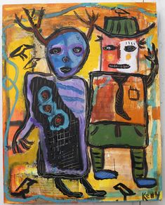 """Happy Couple"" Raw Art by Kelly Moore…#artbrut #selftaughtartist #outsider"
