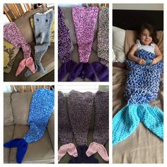 Shark blankets and mermaid blankets Mermaid Tail Blanket, Mermaid Blankets, Love Crochet, Crochet Hats, Owl Blanket, Tutu, Comfy, Stitch, Unique