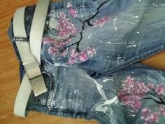Handmade design painted jeans