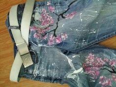 Handmade design painted jeans