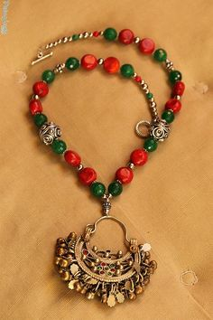 Necklace with Kuchi pendant (earring), madrepora and agate, indian silver by PadmaJewels, via Flickr