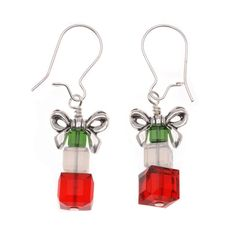 Stacked Swarovski cubes, topped with a bow, make a wonderful pair of gift box earrings.