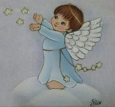 Angelo su una nuvola Angel Baby Shower, Angel Drawing, I Believe In Angels, Christmas Pictures, Fabric Painting, Vintage Cards, Art Sketches, Smurfs, Crafts For Kids