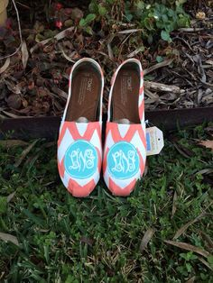 Monogram Chevron Toms. ANY 2 Colors by pinstripesNparasols