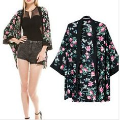 Fashion 2014 Half Batwing Sleeve Floral Print Chiffon Spring Summer Open Stitch Coats Casual Loose High Quality Cardigan Now only $16.90