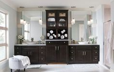 Java Cherry cabinets in a contemporary bathroom by Homecrest Cabinetry Master Bathroom Vanity, Kitchen Cabinets In Bathroom, Cherry Cabinets, Tidy Bathroom, Bathroom Vanity Designs, Kitchen And Bath, Bathroom Design Trends, Trendy Kitchen, Contemporary Bathroom