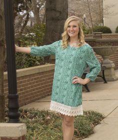 NEW Mint Tribal Print Crochet Trim Shift Dress