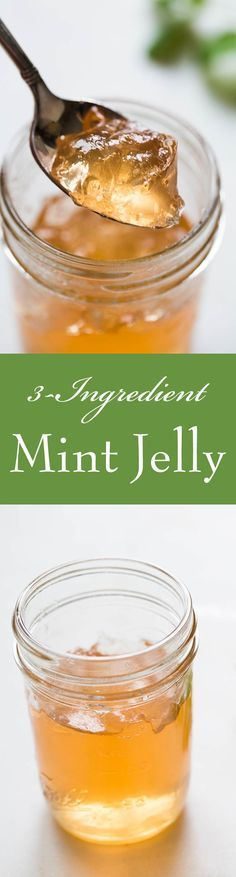 Making mint jelly is easy! This recipe uses only 3 ingredients—apples, sugar, and mint—and NO artificial coloring. Video too! On SimplyRecipes.com