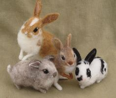 Rabbit with caramel colored spots, needle felted animal, Easter bunny. 150.00, via Etsy.