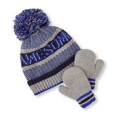 0092ce11dab Baby Boys Toddler Boys  Awesome  Pom Pom Beanie And Mittens Set - Blue Hat