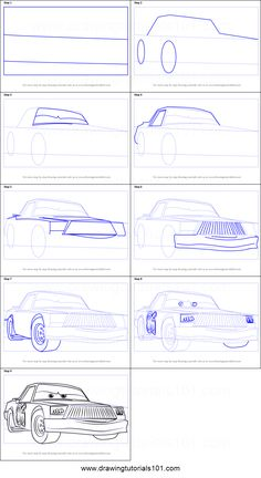 How to Draw Chick Hicks from Cars 3 step by step printable drawing sheet to print. Learn How to Draw Chick Hicks from Cars 3 Cartoon Car Drawing, Car Drawings, Disney Drawings, Car Design Sketch, Car Sketch, Ghibli Tattoo, Drawing Machine, Easter Coloring Pages, Drawing Sheet