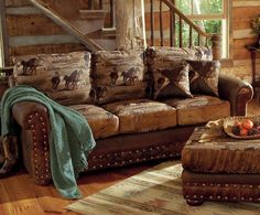 Horse Pattern Leather & Cowhide Sofa & Outtoman