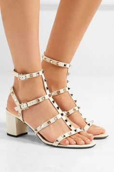 Valentino - The Rockstud Patent-leather Sandals - Off-white - IT