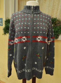 Holiday Lodge Zip Front Sweater 1X Gray Red White Snowflakes Holly Accents Plus  #HolidayLodge #FullZip #Casual