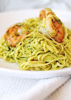 Shrimp Pasta with Cilantro Pesto - @Amy Johnson / She Wears Many Hats