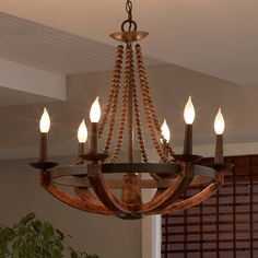 Rustic Iron Burnished Wood & Sculpted Wood Beads Candelabra Ceiling Chandelier – Lighting - ALL ABOUT Wood Bead Chandelier, Farmhouse Chandelier, Chandelier In Living Room, Chandelier Ceiling Lights, Living Room Lighting, Cabin Chandelier, Dining Lighting, Plywood Furniture, Dining Room Light Fixtures