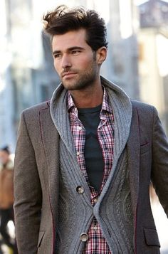 Shop this look for $95:  http://lookastic.com/men/looks/burgundy-longsleeve-shirt-and-charcoal-crew-neck-t-shirt-and-grey-shawl-cardigan-and-grey-blazer/680  — Burgundy Plaid Longsleeve Shirt  — Charcoal Crew-neck T-shirt  — Grey Shawl Cardigan  — Grey Blazer