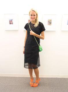 Senior Fashion Market Editor Mary Kate Steinmiller in a Prada dress and crossbody bag, Jimmy Choo heels