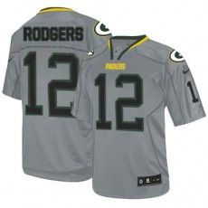36079b319 Nike Green Bay Packers  12 Aaron Rodgers Lights Out Grey Men s Stitched NFL  Elite Jersey
