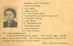 Roots from the Bayou : Family Recipe Friday ~ School Day Cookies Bake for 11 mins Retro Recipes, Old Recipes, Vintage Recipes, Cookbook Recipes, Recipies, Cookie Desserts, Cookie Recipes, Dessert Recipes, Baking Recipes
