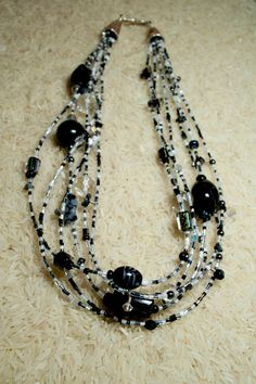Black and White beaded Necklace. $65.00, via Etsy.