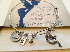 Fairy charm Bangle Bracelet Adult size by FairytaleBangles on Etsy