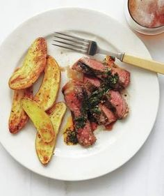 T-Bone Steak With Cilantro Chili Sauce and Fingerling Fries   Get the recipe for T-Bone Steak With Cilantro Chili Sauce and Fingerling Fries.