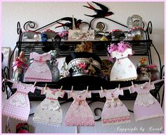 Another picture of the pink paper dress garland that I created for a pivate swap with Anita
