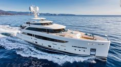 """The 42.3m entry from Italian shipyard Mondomarine displays """"modern yet extremely harmonious exterior lines that perfectly match her interior."""" It gives the owner private use of the entire upper deck, along with four guest cabins below."""