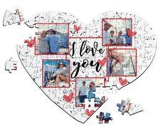 Puzzle a cuore A4 con grafica collage