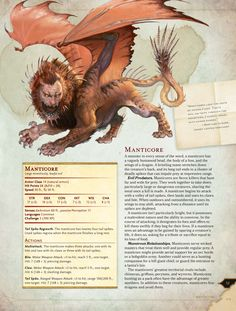 d monster manual manticore Dungeons And Dragons 5e, Dungeons And Dragons Homebrew, Mythological Creatures, Fantasy Creatures, Mythical Creatures List, Dnd Stats, Dnd Races, Manticore, Dragon Rpg