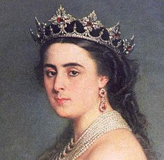 Angela de Las Navas, Duchess of Medinaceli, wearing the Medinaceli Ducal Tiara (ruby setting), Spain (mid 19th c.; rubies, diamonds).