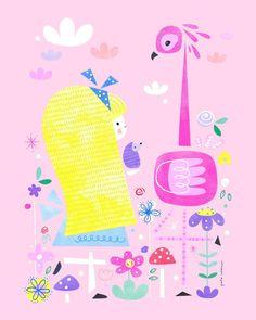 petecromer: ✨Alice✨ #aliceinwonderland #alice #flamingo #hedgehog #croquet #garden #flowers #colour #shapes #illustration #print #aliceinpeterland #petecromer