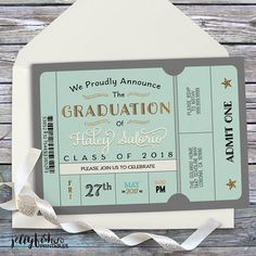 Class of 202 ticket style graduation party invitation or graduation announcement. This design will be professionally personalized for you. Graduation Party Invitations, Graduation Party Decor, Invites, Jw Printables, College Graduation Announcements, High School Graduation, Ticket, Messages, Cards