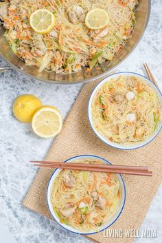 One-Pot Pancit is a quick and easy rice noodle dinner the whole family will love. With chicken, shrimp, and vegetables, this delicious recipe is gluten-free and kid-approved too! Chinese Food Menu, Easy Chinese Recipes, Salmon Recipes, Chicken Recipes, Pancit Recipe, Vegetarian Recipes, Healthy Recipes, Yummy Recipes, Yummy Food