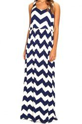 Fashionable Scoop Neck Ripple Print Sleeveless Women's Maxi Dress