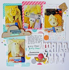 Lawn Fawn - Large Stitched Journaling Card, Stitched Journaling Card, Hello Sunshine paper, Hello Sunshine Flair, #awesome, Say Cheese _ super fun layout by Melissa for Lawn Fawn Design Team
