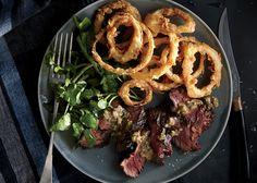 Bistro Steak with Buttermilk Onion Rings - Bon Appétit
