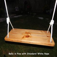 """Wooden Tree Swing - """"The Bella"""", Solid Wood Two Rope Bench Swing.  Is adjustable and removable. on Etsy, $64.00"""