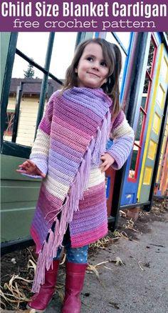 Adorable child size Blanket Cardigan - a FREE crochet pattern! #crochet #crochetforkids #freecrochetpatterns