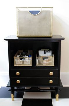 Roadside Rescued, Repurposed and Upcycled Office Storage//use black or green chest