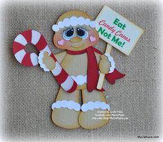 Gingerbread Cookie Candy Canes  Christmas Premade Scrapbooking