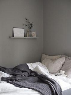 Home Decor Bedroom, Grey Bedroom With Pop Of Color, Gray Bedroom Walls, Bedroom Inspirations, Guest Bedroom Decor, Small Guest Bedroom, Farrow And Ball Lamp Room Grey, Neutral Bedroom Decor, Grey Bedroom