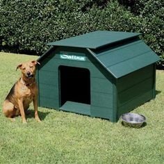 784.99 Living a life of luxury! Eagle One Dog Houses are sure to impress. Made of Greenwood plastic, this dog house nice to look at and great to live in. Your dog will love you for the shade in the summer